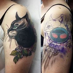 Cat tattoo cover up. Back at at work after a long weekend...such a nice one to get started with! Thankyou sarah! X
