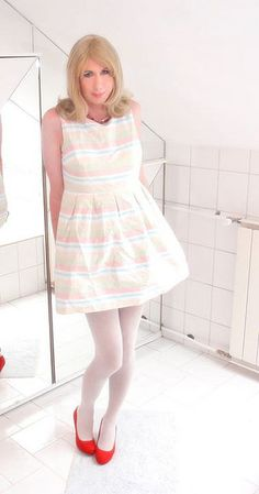 summer dress with white tights, red pumps by Adri Kiss on Flickr.