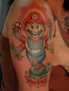 Mario - Cool Tattoos - Gallery of Tattoo Pictures, Tattoos, Pictures of Tattoos, Tattoo Designs Nintendo Tattoo, Gaming Tattoo, Gamer Tattoos, Cool Tattoos, Tatoos, Super Mario Tattoo, Video Game Tattoos, Tattoo Videos, Sirens