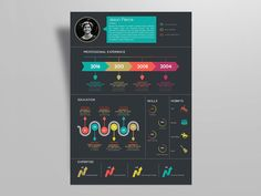 Free creative infographic resume template for any job Opportunity. Available in indesign file format now you can present your personal curriculum vitae with the smart and elegant way. The size. Cv Infographic, Infographic Resume Template, Creative Infographic, Resume Design Template, Resume Templates, Templates Free, Graphic Design Resume, Cv Design, Creative Resume Design