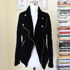 Velvet Moto Jacket Cool velvet motorcycle jacket with gold accents. Pockets. Asymmetrical hem and fully lined. Perfect condition. Ark & Co Jackets & Coats