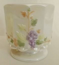 Vintage Westmoreland Opalescent Hand Painted Paneled Grape Open Sugar Bowl