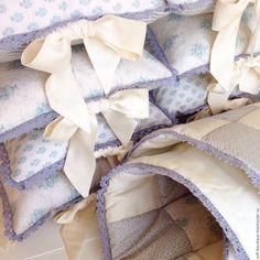 Купить Комплект в детскую кроватку Blue Lake - голубой, бортики в кроватку, детский текстиль