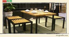 Bộ bàn ghế chân sắt gỗ thông pallet S1