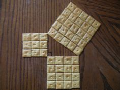Proving the Pythagorean Theorem with Cheeze-It crackers. So simple! And so meaningful learned this from my teaching math class and I finally understood the formula