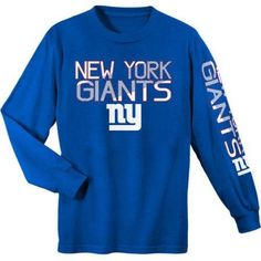 NFL New York Giants Youth Long Sleeve Cotton Tee, Boy's, Size: XS, Blue