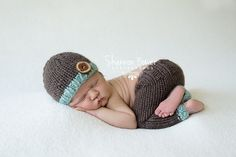 Chocolate and Mint Newborn Pants Photography Prop with Matching Hat, Baby Boy Props, Newborn Photo Props, Handmade Clothing, Knit, Wool on Etsy, $52.00