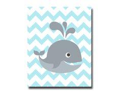 Nursery Blue and Gray Whale Art Print Baby Boy Whale by HopAndPop, $13.50