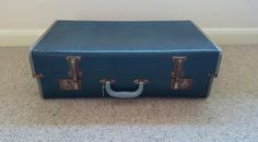 Vintage suitcase, expanding luggage, blue, vintage luggage, leather, old suitcase, possibly 1960s