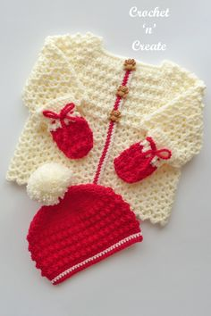 Beautiful three piece baby outfit, a free crochet pattern consisting of cardigan, mitts and beanie hat, find the pattern on crochetncreate. #crochet #crochetforbaby #babycrochet #freebabycrochetpatterns #babycrochetsweater #freecrochetpattern Crochet Baby Cardigan Free Pattern, Crochet Blanket Patterns, Baby Patterns, Crochet Stitches, Crochet Hooks, Free Crochet, Unique Crochet, Beautiful Crochet, Crochet Winter