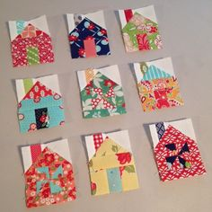 Nine tiny little houses. Three in each row. Hope you will love it partner! Tiny Little Houses, Plant Labels, Quilting, Holiday Decor, Mini, Instagram Posts, Fat Quarters, Jelly Rolls, Quilts
