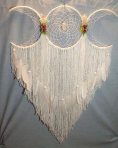 White Triple Moon Dream Catcher, Hecate Headboard wall Hanging with Real Dried flowers, Native Made with Pagan Pride - Triple moon phase dream catcher with white feather, This wall hanging features real dried rose buds - Dream Catcher White, Dream Catcher Craft, Making Dream Catchers, Large Dream Catcher, Dream Catcher Mobile, Dream Catcher Boho, Goddess Symbols, Moon Symbols, Triple Moon Goddess
