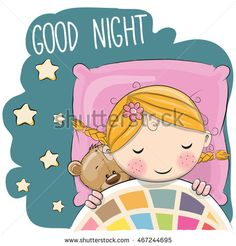 Cute Cartoon Sleeping Girl with teddy bear in a bed