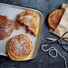 PB&J Stuffed Multigrain Pancakes | CookingLight.com #myplate #protein #wholegrain