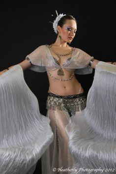 Irina Akulenko Beautiful winter white fan veil belly dance costume