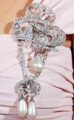 Diamond and Pearl Corsage, can be worn in different ways