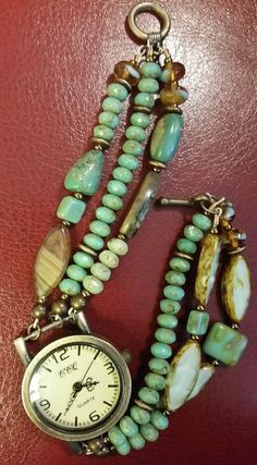 Beautifully beaded three strand turquoise watch by Love2BeadbyCindy