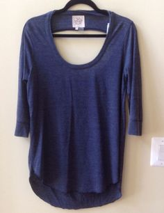 NWT CHASER WOMEN'S SOLID BLUE COTTON BLEND 3/4 SLEEVE OPEN BACK TOP SIZE L #Chaser #KnitTop
