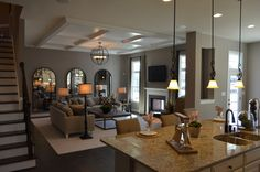 The Ellington kitchen and family room by Ryan Homes at Lake Estates subdivision in Stafford County.