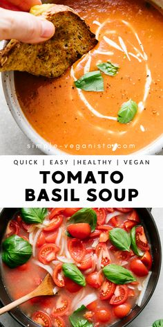 Tomato Basil Soup is made with fresh tomatoes, onion, garlic and basil for a deliciously creamy tomato soup that's ready in about 30 minutes! Vegan and gluten free recipe. Basil Recipes, Vegan Recipes Easy, Veggie Recipes, Soup Recipes, Whole Food Recipes, Vegetarian Recipes, Veggie Food, Food Food, Dinner Recipes
