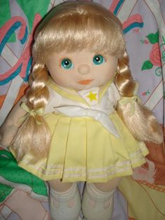 My Child Doll French Ultra Long Blonde w/ Aqua Blue Eyes and Peach Makeup