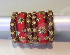 3 piece Kundan stone bangles for both hands Kundan Bangles, Silk Thread Bangles, Bridal Bangles, Thread Jewellery, Jewellery Diy, India Jewelry, Kids Jewelry, Jewelry Crafts, Handmade Jewelry