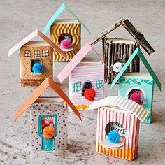 Zünder- Vogelhäuser - wie niedlich - mach ich auch nach :)  Home Tweet Home: These wee matchbox birdhouses make perfect canvases for your child's dollhouse dreams.
