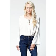 La Hearts Lace-Up Long Sleeve Cropped Top ($33) ❤ liked on Polyvore featuring tops, bohemian crop top, bell sleeve crop top, white crop top, long tops and long sleeve tops
