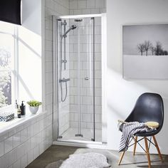 This Bi Fold Shower Door comes in a wide range of sizes and provides great value for money. Add this shower door to a plain panel for a square enclosure.