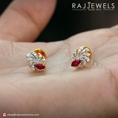 Beautiful Solid Gold Diamond Ruby Stud Earrings... Free Delivery within 5 Days in US. Contact now at b2cindiagemco@gmail.com http://stores.ebay.com/Raj-Jewels-India #Solidgold #Diamondpave #Hcolordiamond #Ruby #Studearrings #Fine #jewelry #Jewelryonsale #Designer #Giftforher #Birthdaygift #Giftforwomen #Diamondstud #New #Goldearrings #onedayshipping #freeshipping #Expeditedshipping