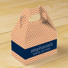 Navy Blue and Orange Chevron Pattern Bridal Shower Favor Boxes
