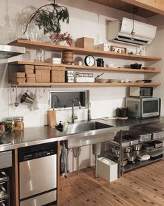 Applying an industrial concept to a kitchen is definitely a good choice to consider. Check these amazing industrial kitchen ideas and you'll love it! Industrial Kitchen Design, Industrial Interiors, Kitchen Modern, Industrial Kitchens, Minimal Kitchen, Rustic Kitchen, Urban Decor, Kitchen Decor, Kitchen Ideas