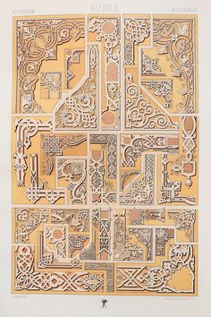Russian pattern from L& Polychrome by Albert Racinet Digitally enhanced from our own original 1888 edition. Carving Designs, Stencil Designs, Medieval Pattern, Persian Pattern, Japanese Patterns, Russian Art, Vintage Ornaments, Border Design, Free Illustrations