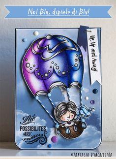 """""""Nel blu dipinto di blu"""" coloured with pencils by Elena Fantasia d'Inchiostro"""