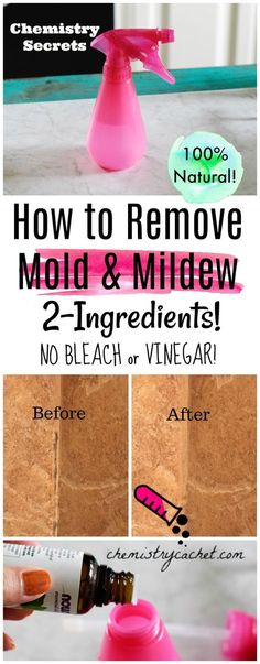 The Best Way to Remove Mold & Mildew Naturally! No Bleach, No vinegar. Just 2 ingredients! #homemademoldremover #mold #mildew #naturalcleaning on chemistrycachet.com