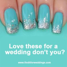 Who doesn't like glitter? Love these glitter nails for a blue wedding. Nail Art www.finditforweddings.com