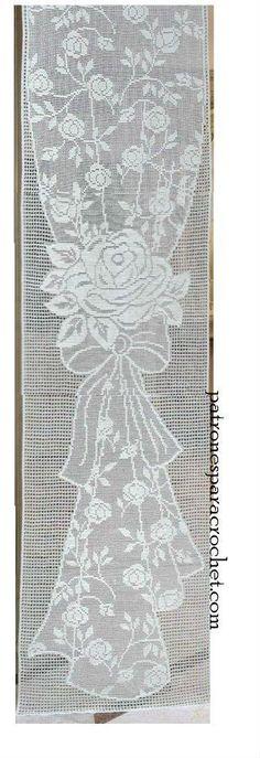 fotos de cortina tejida en crochet filet