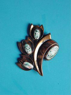 Jerry Fels Matisse Tulip Enamelled Copper Brooch Pin Eames Era Mid Century Modern