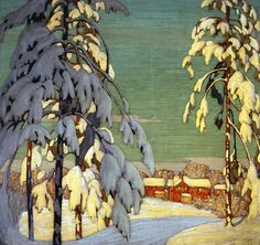 Winter Landscape, Pink House, Lawren Harris by Group Of Seven, Giclee on Canvas Group Of Seven Artists, Group Of Seven Paintings, Paintings I Love, Art Paintings, Winter Landscape, Landscape Art, Landscape Paintings, House Landscape, Watercolor Landscape