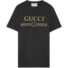 Gucci Appliquéd distressed printed cotton-jersey T-shirt ($550) ❤ liked on Polyvore featuring tops, t-shirts, gucci, black, oversized t shirt, logo tee, crew neck tee, ripped t shirt and destroyed t shirt