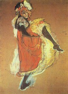 """""""춤추는 잔 아브릴"""" (1893)     그림 속 잔 아브릴이 다리를 높이 들고 추는 춤이 당시에 그녀를 유명인사로 만들었다고 한다. 동시에 저 춤은 그 역동성이나 움직임의 자유로운 특징 덕분에 자주 로트렉의 그림의 소재가 되었다. 그는 역동성을 화폭에 담으면서 끊임없이 스스로의 한계로부터 자유를 그려내고 있었던 것이다."""