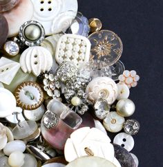 Vintage & Antique White Button Lot - Over 200 Buttons - Mother of Pearl, Shell, Crystal, Glass, Lucite, Rhinestone / Elegant Supply Destash by Maejean Vintage, $42.00