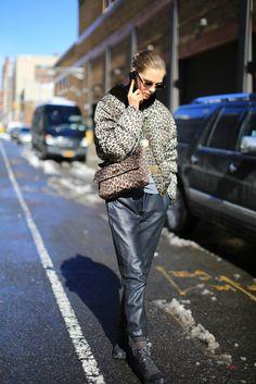 caroline brasch nielson baggy leather pants + leopard bomber