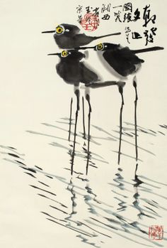 Sandpipers or stilts by Huang Yongyu (b. 1924, China)