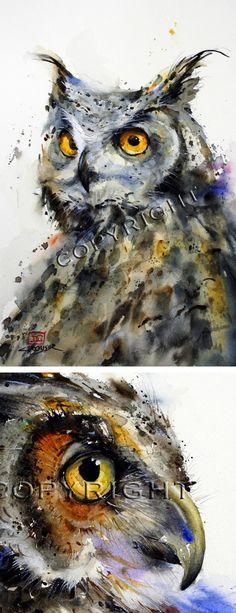 Dean Crouser, art, painting, watercolor, animals, wildlife, owls, birds