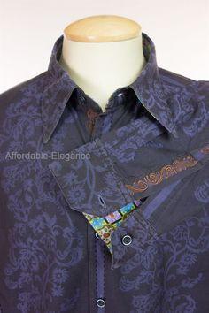 ROBERT GRAHAM Mens Dress Shirt XL Extra Large Blue Jacquard Paisley Cotton Silk #RobertGraham