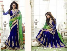 #Blue and #green colour half velvet and half net one minute #saree #sari #designer