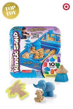 Here's a creative, fun gift idea… Kinetic Sand that sticks to itself and not to kids, and it doesn't dry out. Perfect. Also features 10 tropical island molds, and one pound of brown sand and one pound of blue sand.