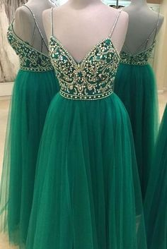 Green Beaded Prom Dress,Backless Tulle Prom Dress,Custom Made Evening Dress,17286