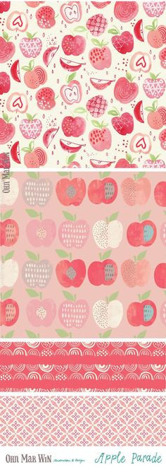 FOOD & DRINK — Ohn Mar Win Illustration I have a ever growing selection of FOOD AND DRINK designs apple surface pattern